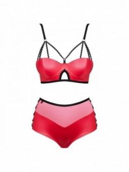 obsessive miamor peignoir y tanga color rubí s m
